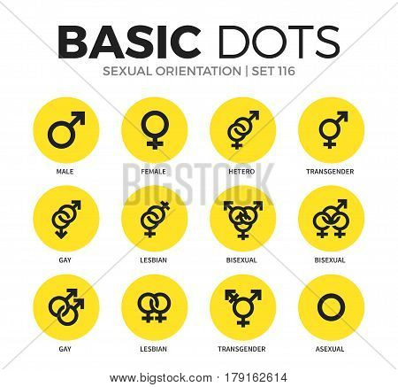 Sexual orientation flat icons set with male, asexual and gay isolated vector illustration on white