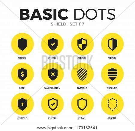 Shield flat icons set with safe, clean and check isolated vector illustration on white