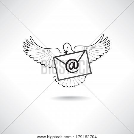 E-mail symbol. Mail icon with dove. Flying bird with letter. Delivery sign