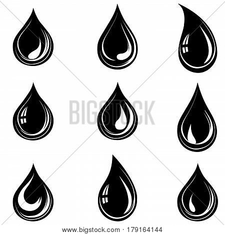 Water drop set. Droplet silhouette isolated collection.