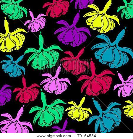 vector graphic illustration pink fuchsia flowers pattern
