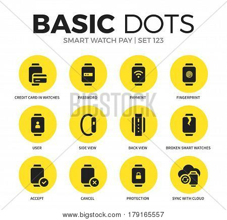 Smart watch pay flat icons set with password, user and payment isolated vector illustration on white
