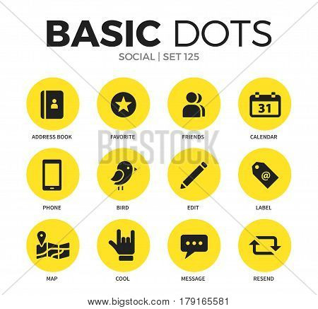Social flat icons set with address book, edit and map isolated vector illustration on white