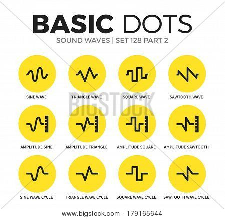 Sound waves flat icons set with sine wave, amplitude sine and sawtooth wave isolated vector illustration on white