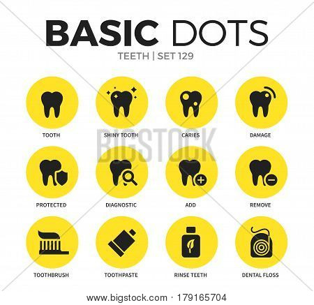 Teeth flat icons set with tooth, add, remove and toothpaste isolated vector illustration on white