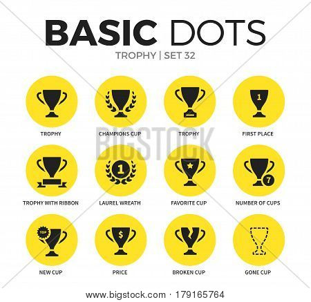 Trophy flat icons set with champions cup, price, first place and trophy isolated vector illustration on white