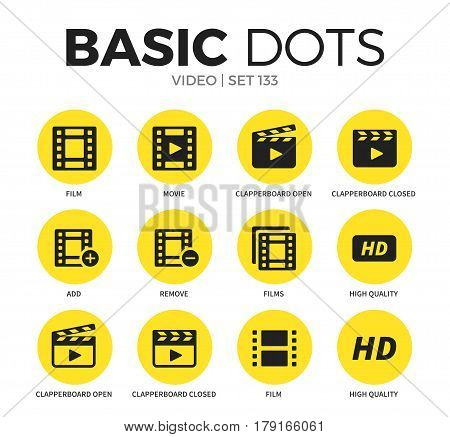 Video flat icons set with film, remove and clapperboard open isolated vector illustration on white