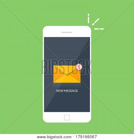 Notification of an incoming email letter to a mobile phone. E-mailing, spam, e-commerce. Vibration smartphone. Vector illustration isolated on color background. Flat style