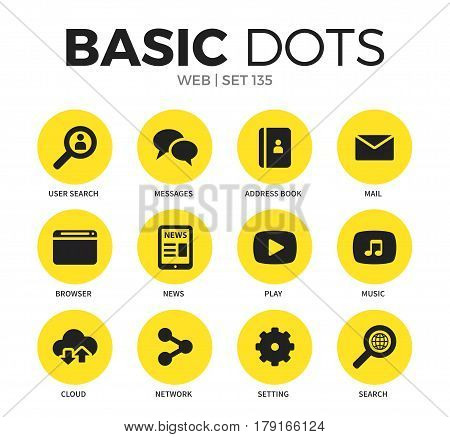 Web flat icons set with messages, address book and mail isolated vector illustration on white