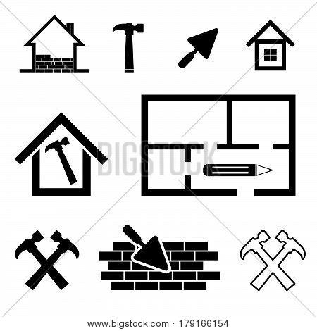 House Work Tool Set In Black Color Illustration
