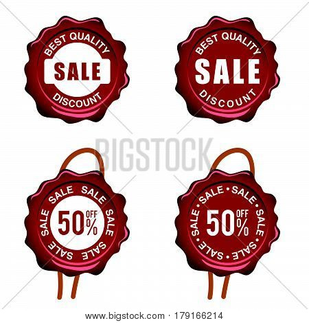 Seal Wax With Sale On It Set In Red Color Illustration