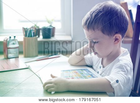 Photo Gradient Style with Son Boy Kid Playing Techie Digital Device