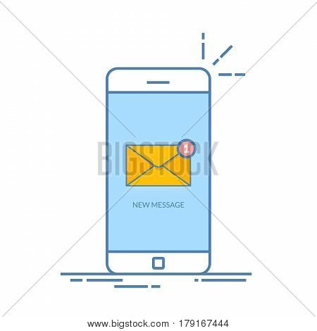 Notification of an incoming email letter to a mobile phone. E-mailing, spam, e-commerce. Vibration smartphone. Thin line vector illustration isolated on color background. Flat style