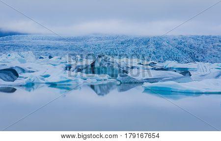 Beautiful cold view of icelandic glacier Vatnajokull Iceland