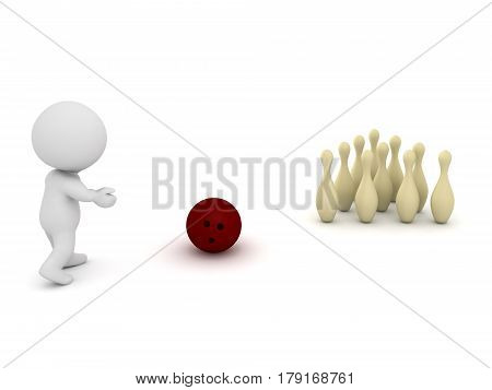 3D Character throwing a bowling ball at a set of bowling pins.