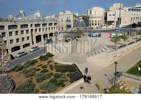 JERUSALEM ISRAEL - MARCH 25 2017: View of Jaffa street and the square of the IDF from the walls of the Old City of Jerusalem