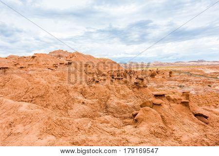 Landscape view of Goblin canyon hoodoos in valley state park in Utah