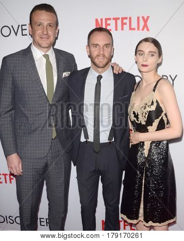 LOS ANGELES - MAR 29:  Jason Segel, Charlie McDonnell, Rooney Mara at the Premiere Of Netflix's