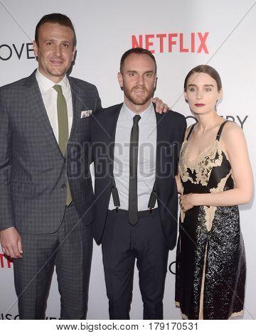 LOS ANGELES - MAR 29:  Jason Segel, Charlie McDonnell, Rooney Mara at the Premiere Of Netflix's