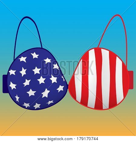 Underwear . Bra with the colors of the American flag . Lingerie . the cap for the twins . Vector illustration . Fashion of the new season. Template for design.