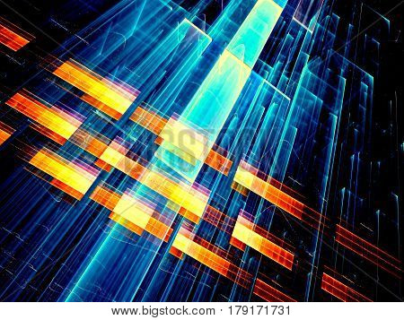 Technology or sci-fi background - chaos diagonal stripes. Abstract computer-generated image - tech concept backdrop for covers, web design, banners.