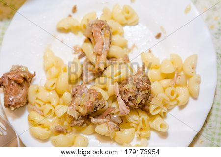 Macaroni With Meat On A Table.