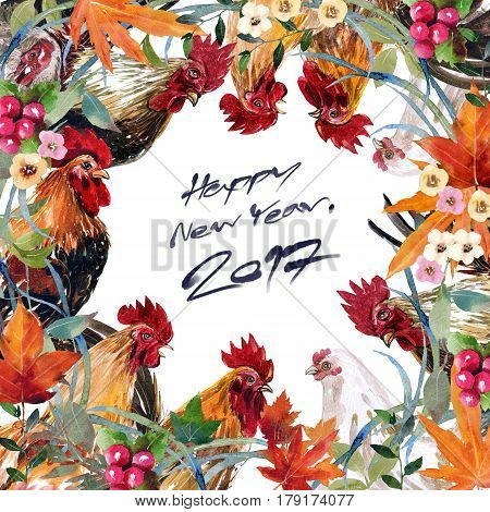 Watercolor painting chicken Animal Annual 2560/2017 . Design patterns are arranged in a frame on a white background. Write off the New Year. Happy New Year 2017