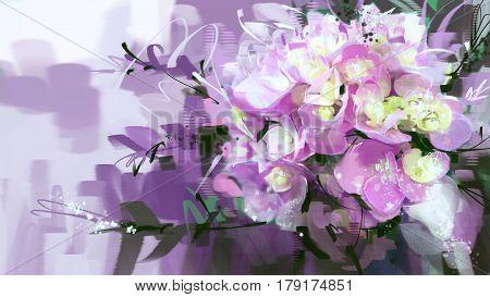 digital painting flowers purple pink style oil painting.