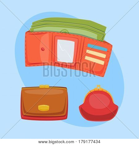Purse red wallet with money vector ico for shopping buy business financial payment bag and accessory object trendy cash wealth vector illustration. Female elegant trendy consumerism pocket.