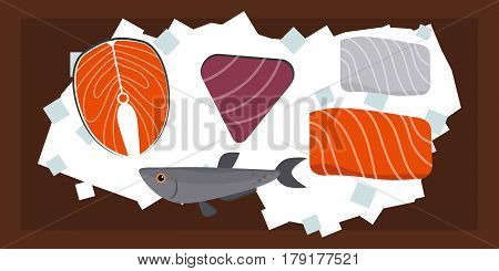 Seafood flat tasty cooking delicious can be used for layout advertising and fresh shrimp shellfish web design gourmet restaurant meal vector illustration. Raw or prepared diet marine ingredient.