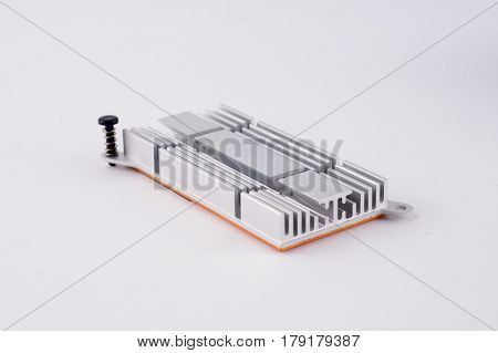 Used Aluminum Heat Sink For Cooling The Microprocessor Of The Computer Board. Radiator Plates In Lar