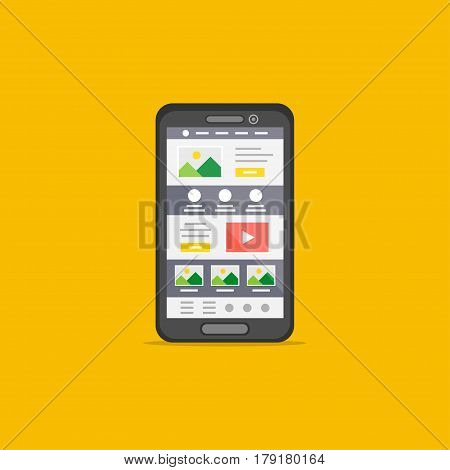 Landing page on mobile phone isolated vector illustration. Mobile phone web design creative concept.