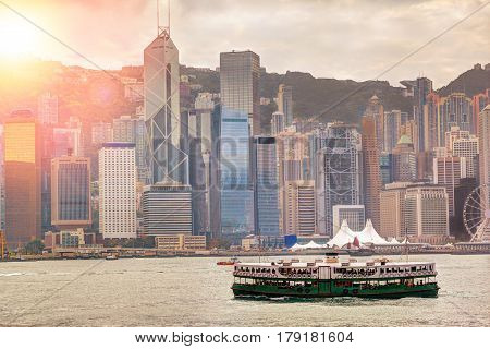 Sunrise Over Victoria Harbour In Hong Kong