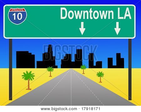 Los Angeles freeway with sign illustration