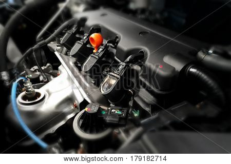 Modern car engine in close up with focus in the center