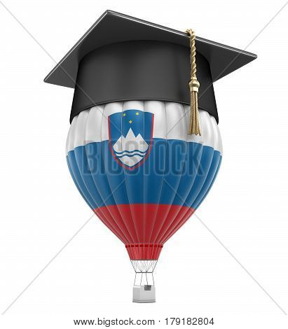 3D Illustration. Hot Air Balloon with Slovene flag and Graduation cap. Image with clipping path