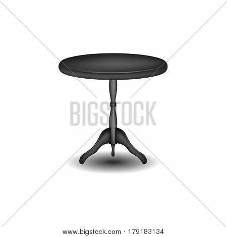 Wooden round table in black design on white background