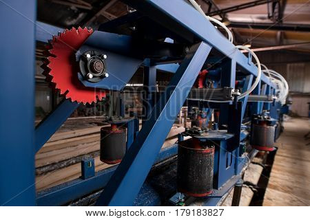 Sawmill, woodworking plant, wood industry. Lumber industry - modern cutting line in sawmill. Processing of wooden logs with modern machinery