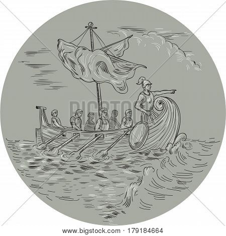 Drawing sketch style illustration of an ancient Greek trirema warship ship with mariners rowing and navigator pointing forward sailing on rough Mediterranean sea set inside circle.