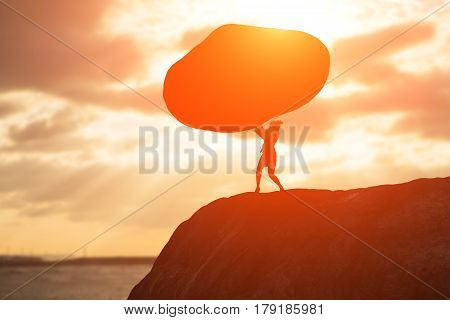silhouette of woman push stone on moutain with sunset