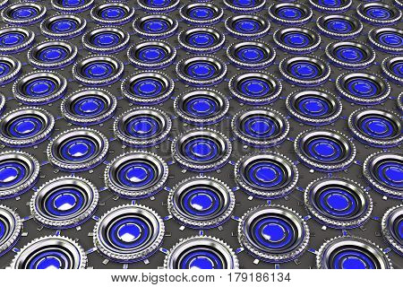 Honeycomb Pattern Of Concentric Metal Shapes With Blue Elements