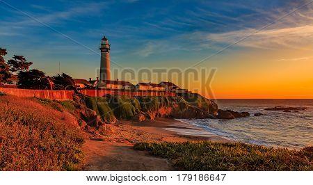Pigeon Pight Lightouse In California At Sunset