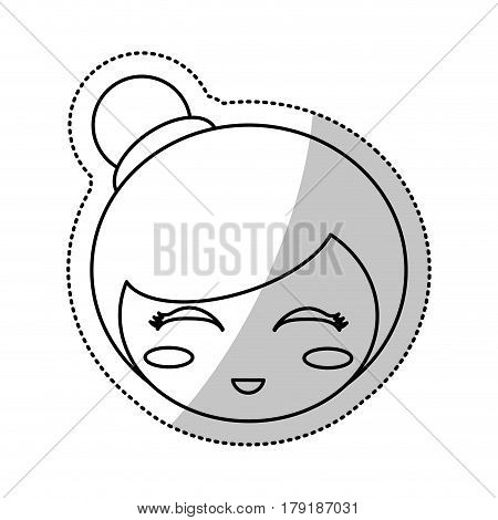 face kokeshi folklore culture line vector illustration eps 10