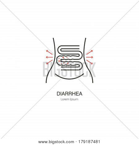 Diarrhea. Logos for health in a linear style