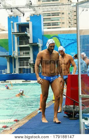 RIO DE JANEIRO, BRAZIL - AUGUST 10, 2016: Water Polo Team Greece  before Rio 2016 Olympics Men's Preliminary Round Group A match against Team Hungary at the Maria Lenk Aquatic Center