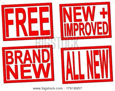 nuevos, libres, nuevos y mejorados sellos transparentes