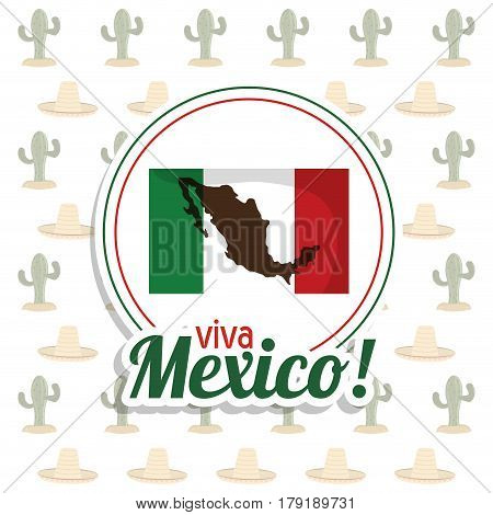 viva mexico invitation flag map party vector illustration eps 10