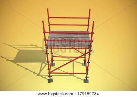 Three dimensional image of scaffolding structure against yellow vignette