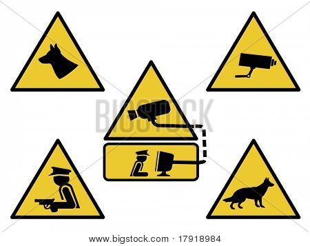 security signs, guard dogs, cctv camera, and armed guard illustration