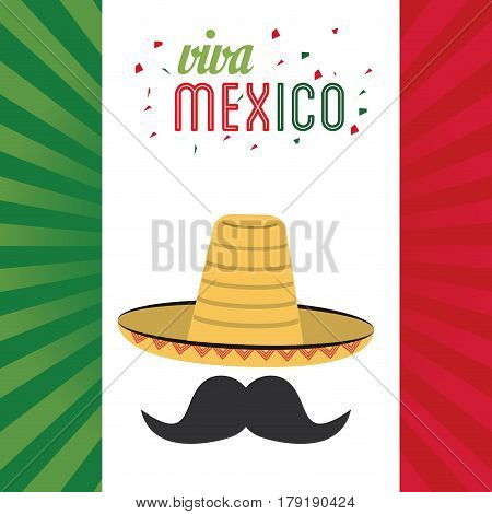 viva mexico greeting hat mustache flag background vector illustration eps 10